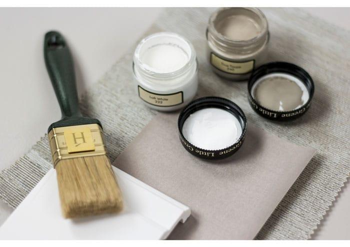 Little Greene - Premium Wandfarbe - Wandfarbe Grau - Warmes Grau - Greige - Maulwurfsgrau - Materialcollage - Taupe und weiss - Taupe und weisses Holz - was passt zur weissen Einrichtung - Wandfarbe für weisse Einrichtung - moderner Landhausstil