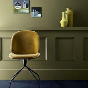 Little Greene Wandfarbe Olive Colour 72 Wand Stuhl Chair Deko Wandbild Grün