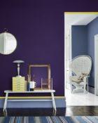 Little Greene Wandfarbe Thai Sapphire 116 Flur Wand Farbe Lila Violett Tisch Deko