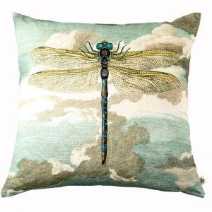Designers Guild Kissen Dragonfly Blau-Türkis Cushion Quadrat Blau Muster