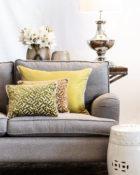 Kissen Grün Senfgelb Sofa Wohnung