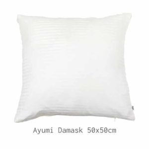 HOATÉ Kissen Ayumi Damask Weiss Weiß Ivory Quadrat Basiskissen Viskose