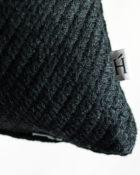 HOATÉ Kissen Escondido Twill Schwarz Quadrat Struktur Schwarz Baumwolle Deko