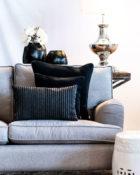 Schwarz Kissen Streifen Sofa Wohnung