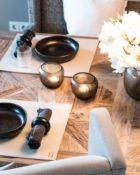 Esstisch Deko Kerzen Vase Blumen