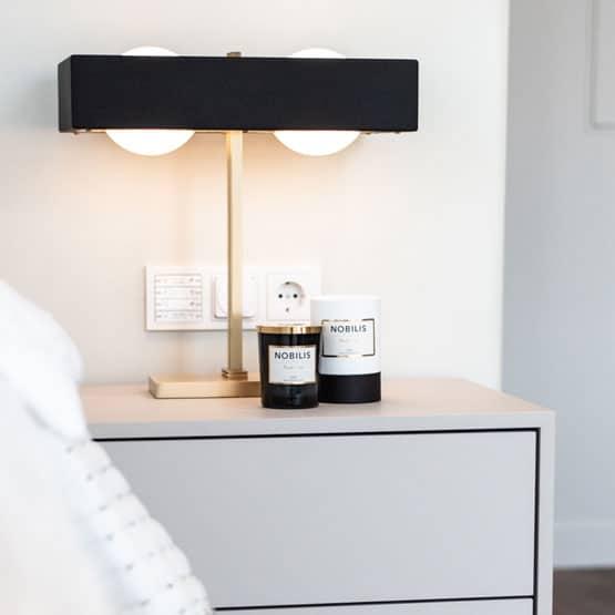Raumteiler Bad Schlafzimmer Nachttisch Lampe Kerzen Gold Schwarz
