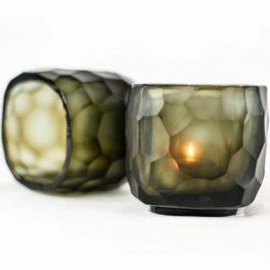 Guaxs Teelichthalter Yava Schwarz Windlicht Kerze Smokegrey Deko Teelicht