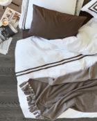 Loop Tagesdecke Decode by Luiz Fleecedecke Decke mit Fransen Taupe Überwurf Bett Couchdecke Taupe
