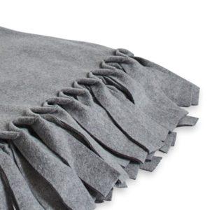 Fransendecke Plaid mit Fransen Loop Grey Melange Decke Fleecedecke Tagesdecke