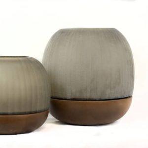 Guaxs Windlichter Namsam graues Rauchglas Holz hochwertig groß