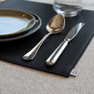 Hoaté Tischset Schwarz Tisch decken Tischgedeck hochwertiges Ledertischset