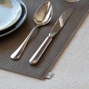 Hoaté Tischset Taupe Tisch decken Tischgedeck hochwertiges Ledertischset