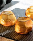Guaxs Serie Cubistic Clear Gold Guaxs Online Shop Guaxs Windlicht Guaxs Glasvase Guaxs Teelichthalter Rauchglas Bernstein